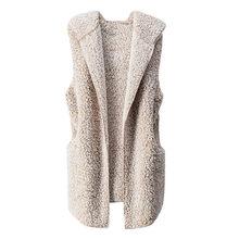 1b41b8f6 Chaleco de invierno cálido Sudadera con capucha abrigo Casual de piel  sintética Zip Up Sherpa chaqueta chalecos para mujer