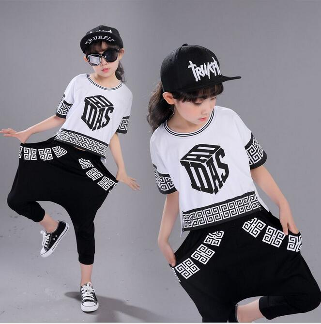 2017 New Summer Children's clothing set Hip Hop Dance Brand Suit Girls Plaid print Performance Fashion costume shorts & T-shirts new girls latin dance performance clothing dance clothes suit costume quilted dress