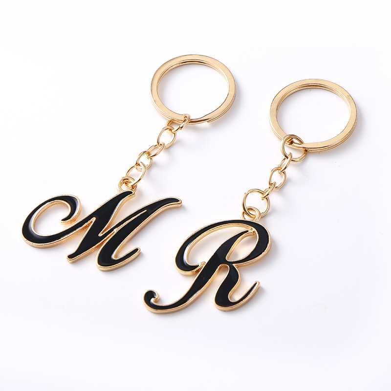 Komi comprar 3 obter livre presente diy inicial A-Z letras chaveiro para homens de ouro porta-chaves do carro feminino carta nome titular chave a10123