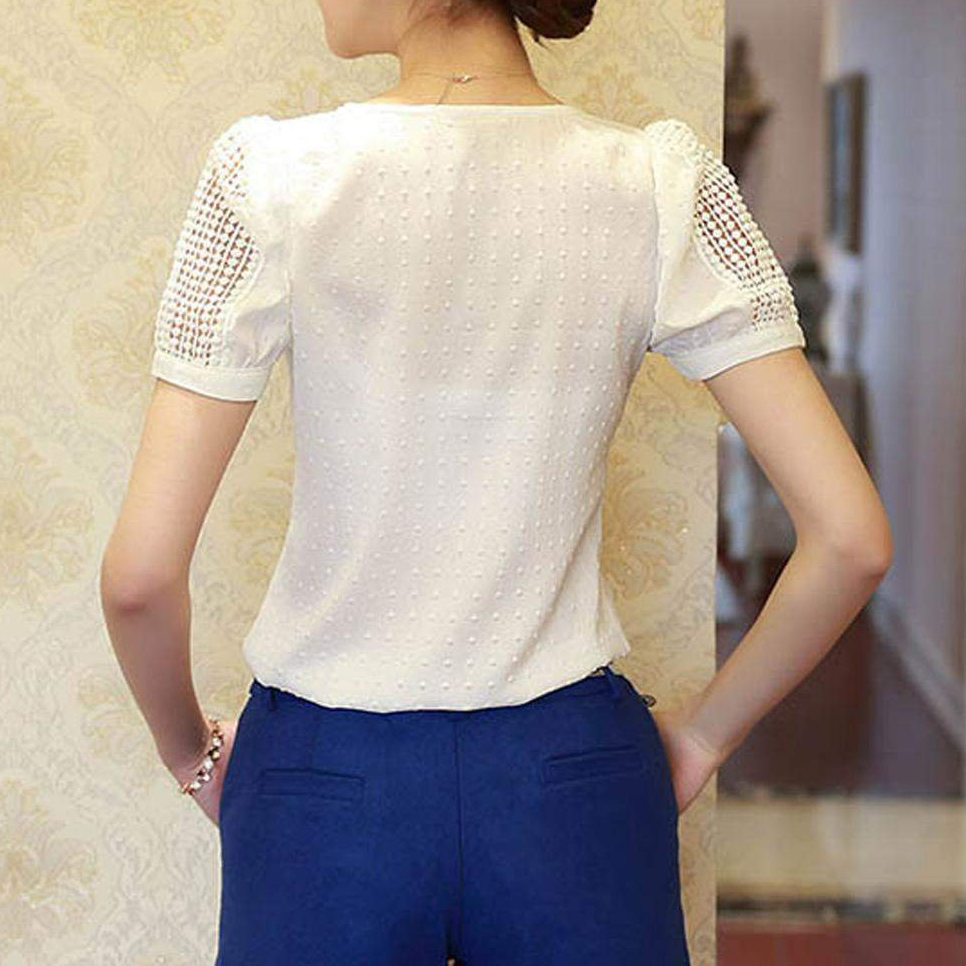 Women's Clothing Hot Women Tropical Blusa Lace Short Sleeve Shirt V Neck Doll Chiffon Tops Women Blouses
