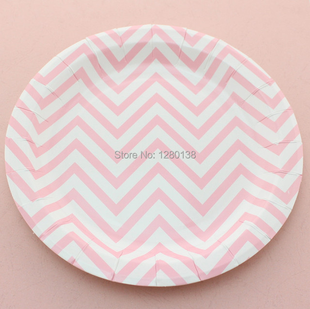 Disposable 9\  Chevron Paper Plates Party Supplies 9\  Pink Round Paper Plates  sc 1 st  AliExpress.com & Disposable 9\