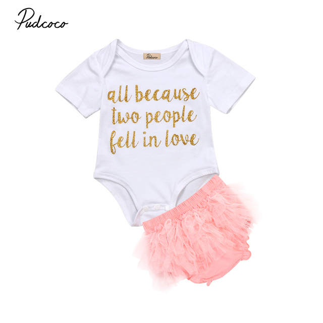 c895ac31e320 All Because Two People Fall in Love Letter 2PCS Toddler Clothes Infant Baby  Short Sleeve Romper Girls Outfit Jumpsuit+Shorts Set
