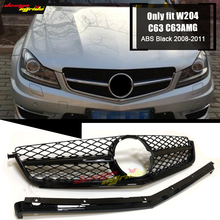 C-Class W204 C63 Style Front Grills Without Sign ABS Black Only Fit For MercedesMB C63AMG Look Grill Grille 2008-2011
