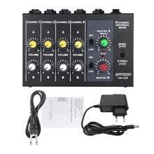 Am-228 초소형 저잡음 8 채널 메탈 모노 스테레오 오디오 사운드 믹서 (전원 어댑터 케이블 포함)