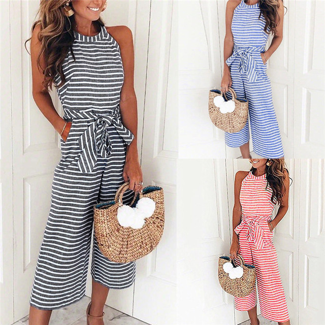 ff7287ea0a1 Women Sleeveless Striped Jumpsuit Casual Clubwear Wide Leg Pants Outfit  Sleeveless Women  s jumpsuit rompers womens  52420