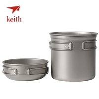 Keith Pure Titanium Pots Set Camping Cookware Tableware Cutlery Picnic Cooking Set Bowl Pot Pan Outdoor Travel Hiking Cooker