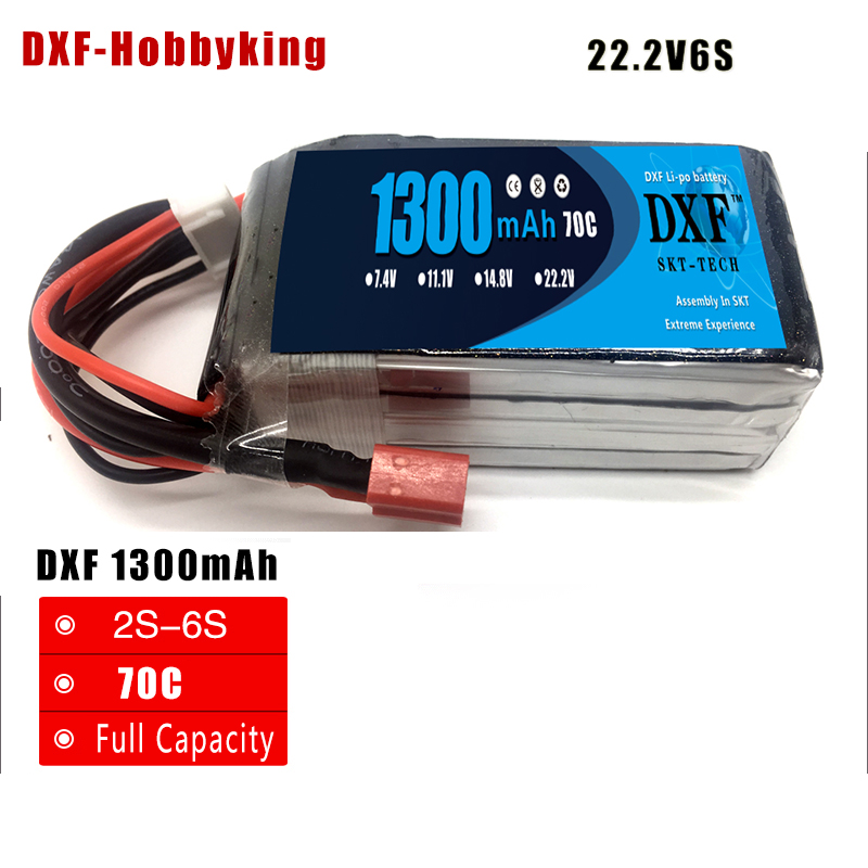 DXF Li-Po <font><b>1300mAh</b></font> 22.2V <font><b>6S</b></font> 70C(Max 140C) <font><b>Lipo</b></font> Battery Pack with XT60 Plug For FPV High Power Demond Racer Car image