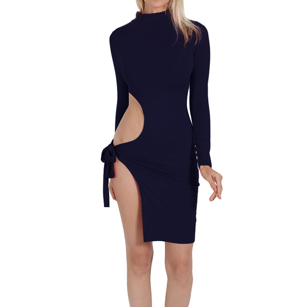 feitong 2019 Night Club Party Women's Sexy High Collar Solid Color Tight Long Sleeve Off Shoulder Tight Dress vestidos Elegant
