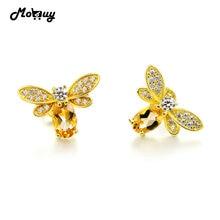 Mobuy MBEI041 натуральный цитрин прекрасный пчела серьги стерлингового серебра 925 14 К желтого золота гальваническим ювелирных украшений для Женские