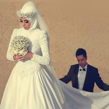 kejiadian Ball Gown satin Long Sleeve Muslim Wedding Dress