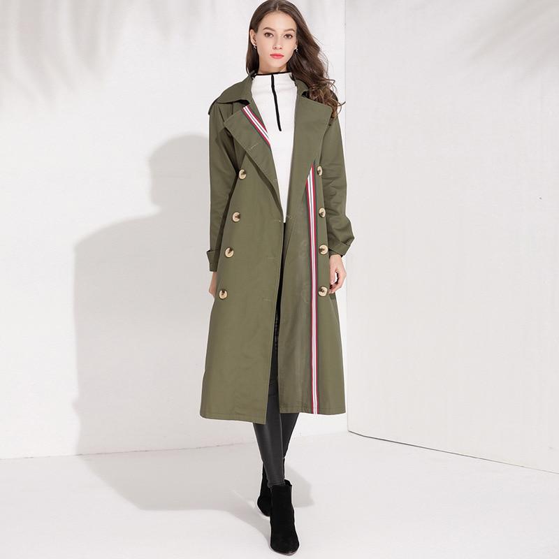 Green D909 Élégant Manteau Printemps Angleterre Army Ceinture Trench Pardessus De Breasted Style 2019 Double Femmes Automne Coupe coat vent 100qfwZaU