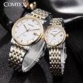 Comtex hombres mujeres relojes de marca de lujo de oro rosa reloj de pulsera hombres calendario relojes de cristal de zafiro amante pareja de cuarzo reloj de regalo