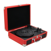 EU Plug 33/45/78 Rpm Bluetooth Portable Suitcase Turntable Vinyl Lp Record Phone Player 3 Speed Aux In Line Out 100 240V(Red)