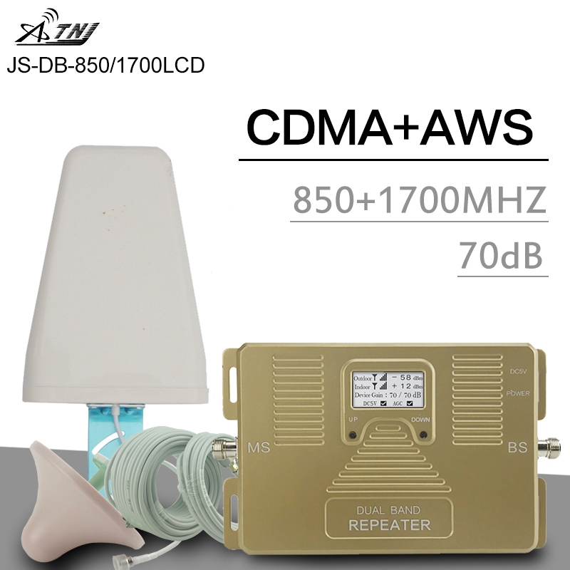 ATNJ 2G 3G CDMA 850 4G AWS 1700 2100 amplificateur de Signal cellulaire double bande 70dB Gain écran LCD 4G LTE Booster 3G répéteur de Signal
