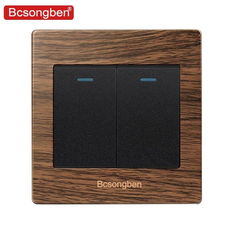 Bcsongben interruptor de pared de botón de lujo 2 Gang interruptor de luz de 2 vías interruptor cepillado panel de grano de madera 10A AC 110 ~ 250V