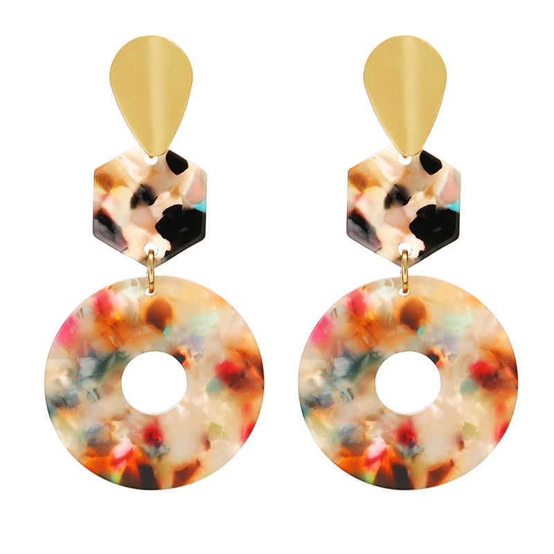 Korean Popular Acrylic Earrings Geometric Round Resin Dangle Drop Earrings For Women Long Statement Earings Fashion Jewelry 2019
