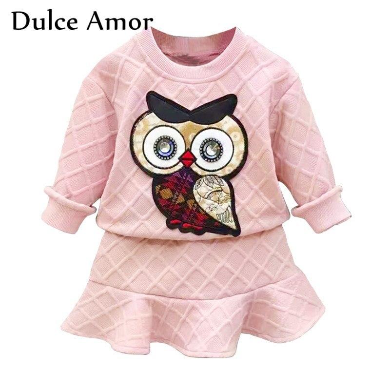 купить Dulce Amor Girls Clothes Set 2018 New Spring Cotton Kid Clothing Suit For Girl Long Sleeve Embroidery Owl Sweatshirt + Skirt онлайн