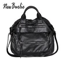 New Burlie ladies casual Hobos Women Messenger Bags Crossbody Soft washed PU Leather Shoulder Bag Fashion Female Handbag Totes