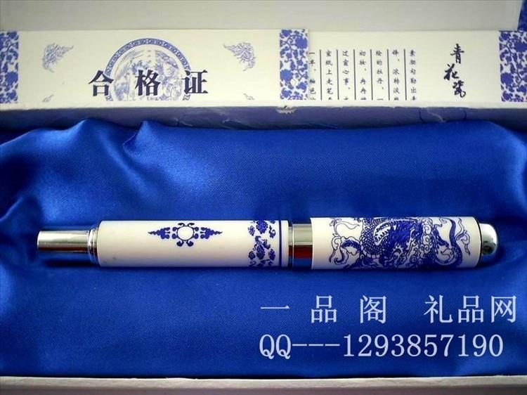 Қытай стиліндегі көк және ақ фарфордан жасалған айдаһар субұрқақ пен керамикалық қаламның туған күніне арналған сыйлық