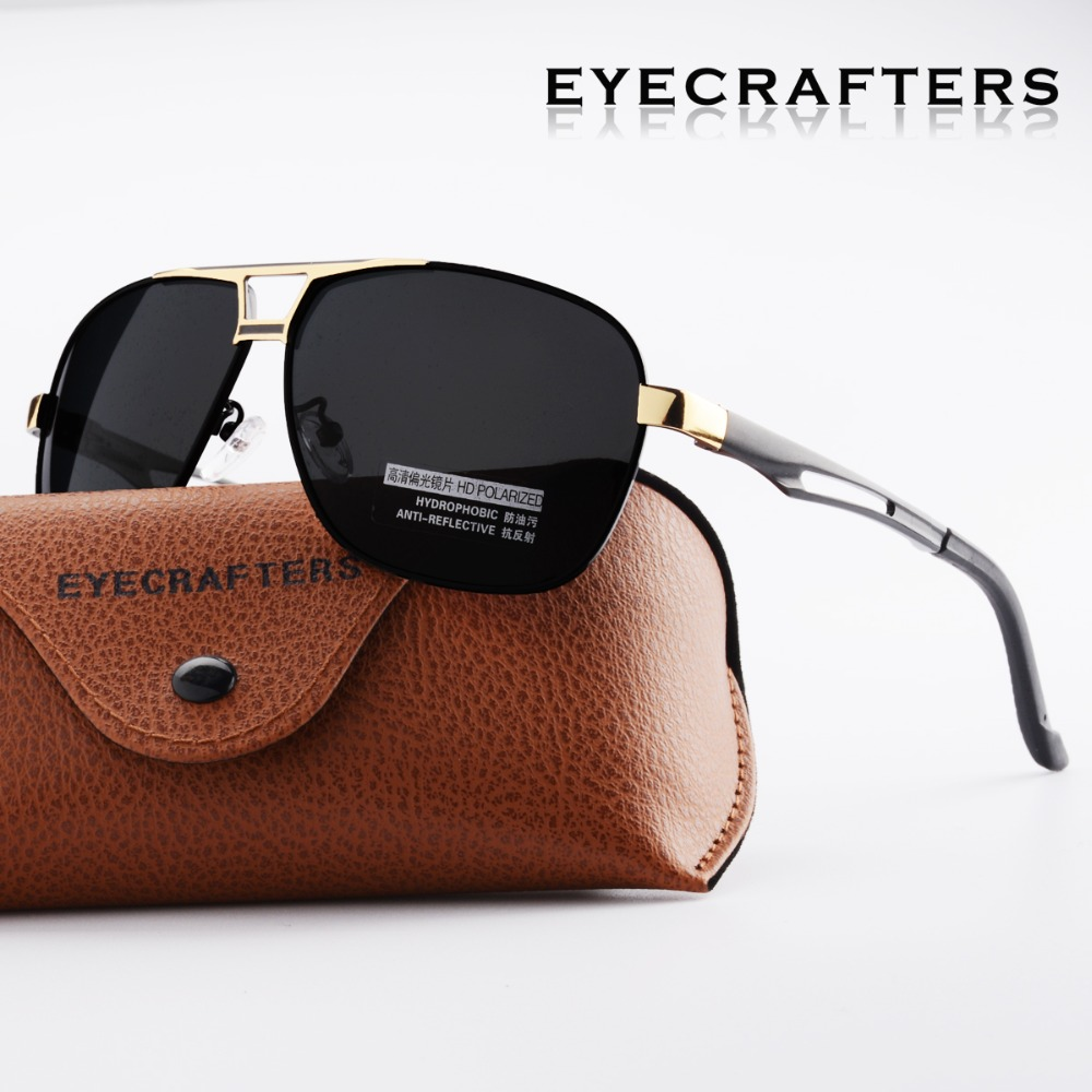 Eyecrafters Designer HD Polarized Sunglasses Mens Driving Pilot Sunglasses Fashion Double Bridge UV400 Eyewear