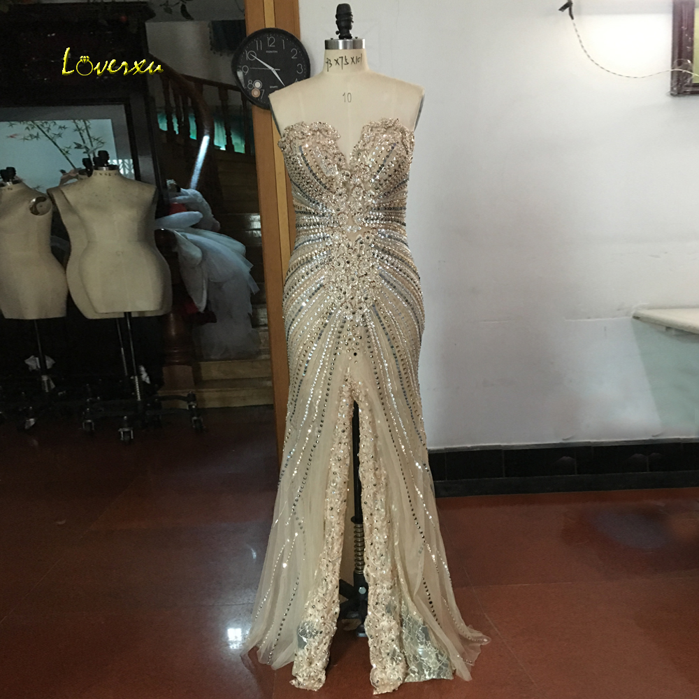 Loverxu Romantic Strapless Long Mermaid   Evening     Dress   2019 Appliques Beaded Sequined Formal   Evening   Party Gown Robe De Soiree