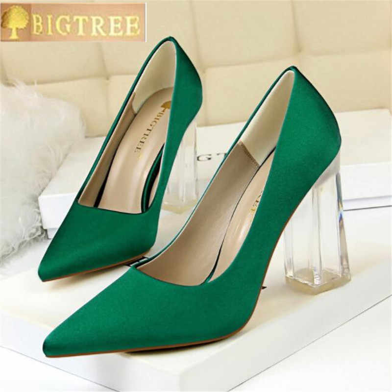 db54dd798 2018 Plus Size 43 Women Block 10cm High Heels Lady Scarpins Green Satin  Pumps Female Wedding