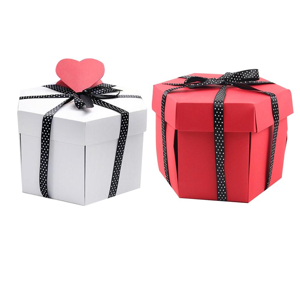 New DIY Hexagon Surprise Explosion Box Gift Packaging Album Box Scrapbook Photo Album Gifts For Valentine's Day Wedding
