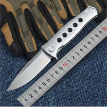 High Quality 58-60HRC D2 blade Sanding finish Steel handle folding knife camping Hunting Survival Tactical knife EDC Multi tools