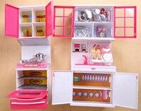 [Best] Mini Anna Elsa light Kitchen supplies Toys Hutch ark/microwave oven/vegetable/Boiler/bowl sets COOK FUN game girl gift