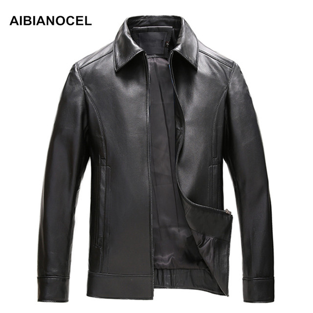 AIBIANOCEL Brand New Casual Business Style Real Leather Jacket Men Genuine Leather Jackets And Coats Male Luxury Clothing S1615