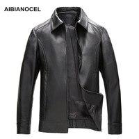 Aibianocel Фирменная Новинка Повседневное Бизнес Стиль натуральная кожа куртка Для мужчин Кожаные куртки и Пальто для будущих мам мужской роско