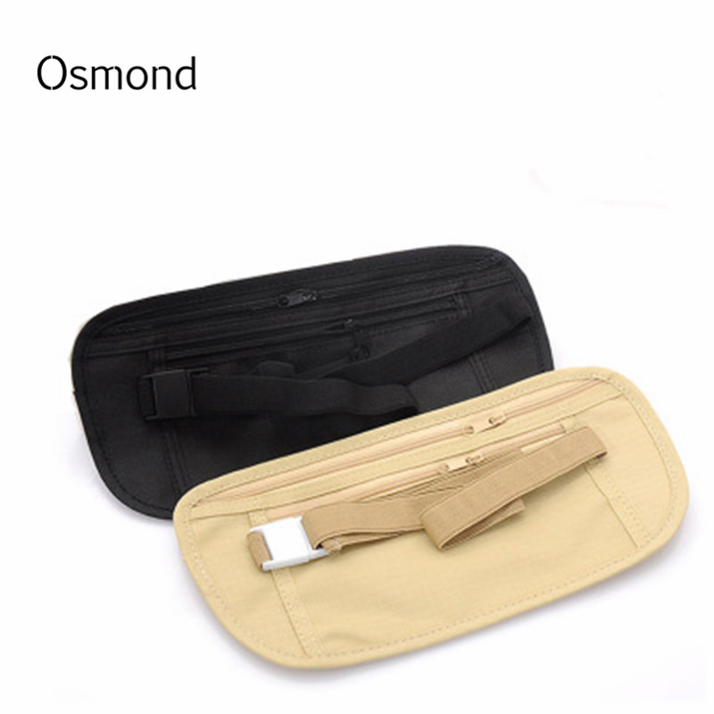 Women Men Fanny Pack Hip Waist Belt Money Bag Pouch Unisex Small Travel Sports Black Mobile Phone Secret Bag Hide Pockets Belt
