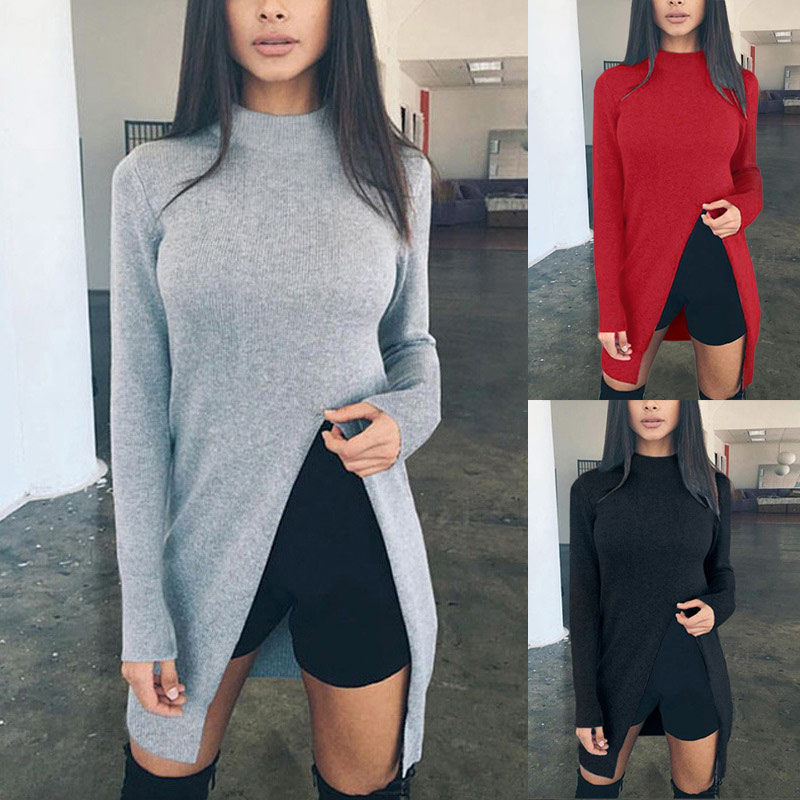 Fashion Autumn Winter Women Sweater Solid Color Long Sleeve High Neck Front Split Ladies Girl Casual Knitted Pullover FS