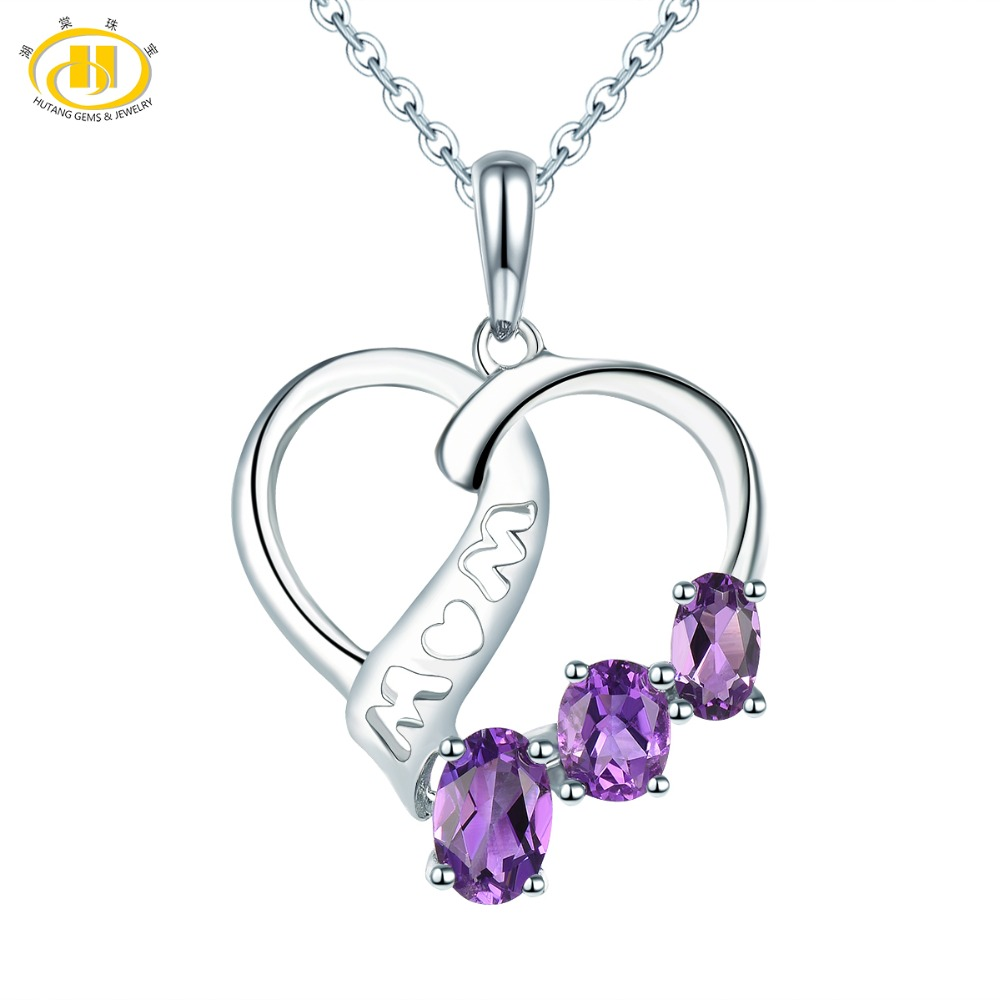 Hutang Stone Jewelry Natural Gemstone Amethyst Solid 925 Sterling Silver Heart Pendant Fine Jewelry For Mothers Day Gift NewHutang Stone Jewelry Natural Gemstone Amethyst Solid 925 Sterling Silver Heart Pendant Fine Jewelry For Mothers Day Gift New