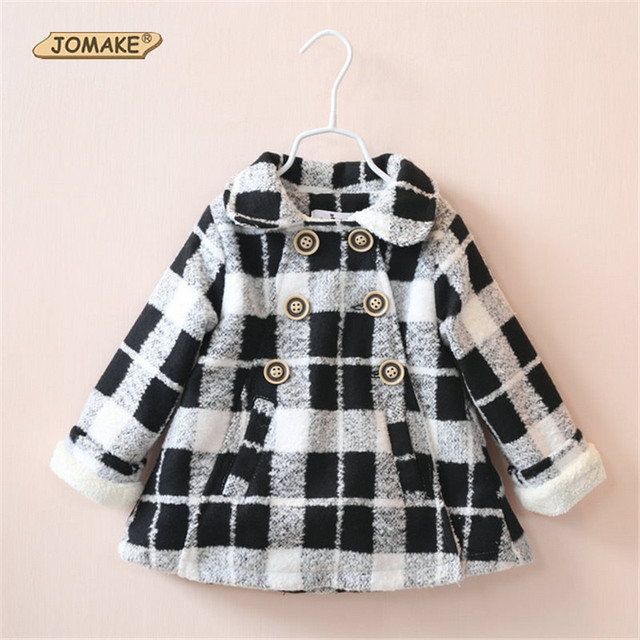 2016 Winter New Style Girls Clothes Wool Outwear Double-Breasted Plaid Baby Girl Woolen Coat Peter Pan Collar Casual Clothes