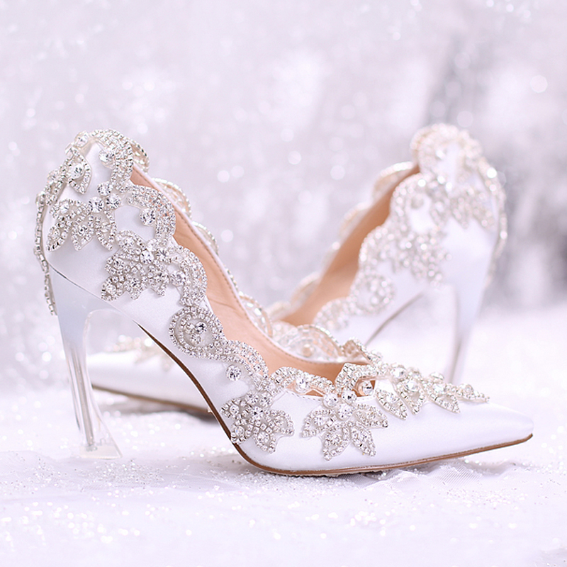 Wedding Shoe For Bride White Red Pink Diamond Bride Shoes Crystal Pointed Toe High heeled Dress Party New Shoes Transparent heel shoes blue lace flower bride white pearl diamond wedding shoes pointed high heeled sandals dress shoes bag set pink shoes set