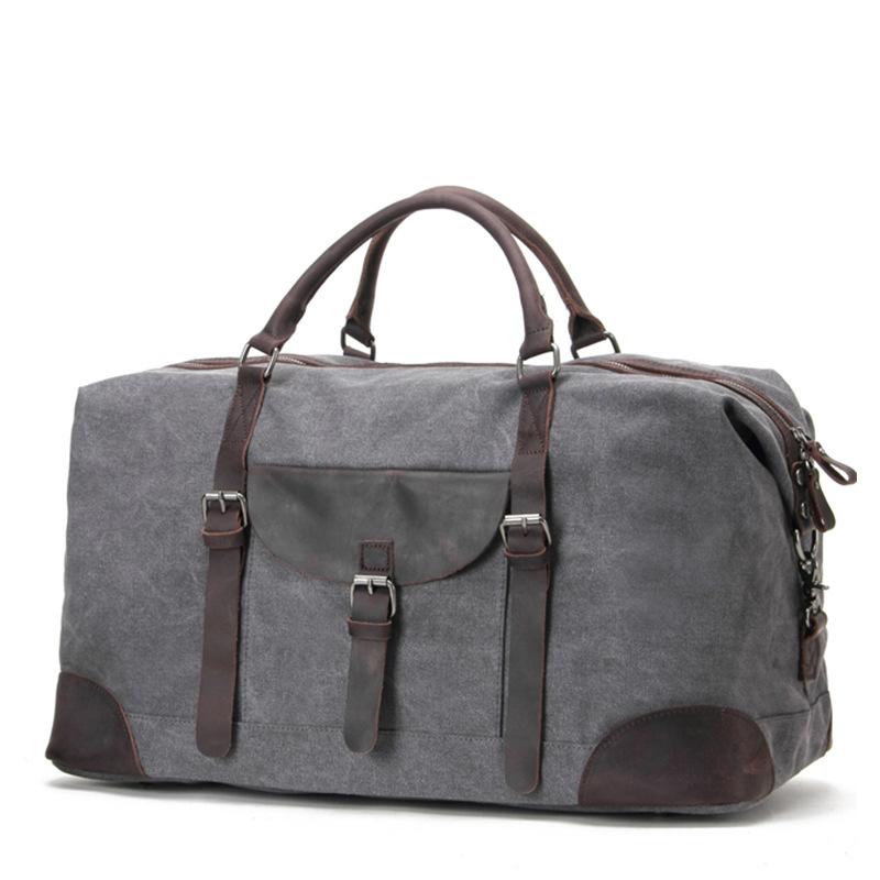 European Style Gray Color Men & Women Travel Hangbags Canvas Casual Big Totes For Trip Solid Color Large Capacity Bags G028
