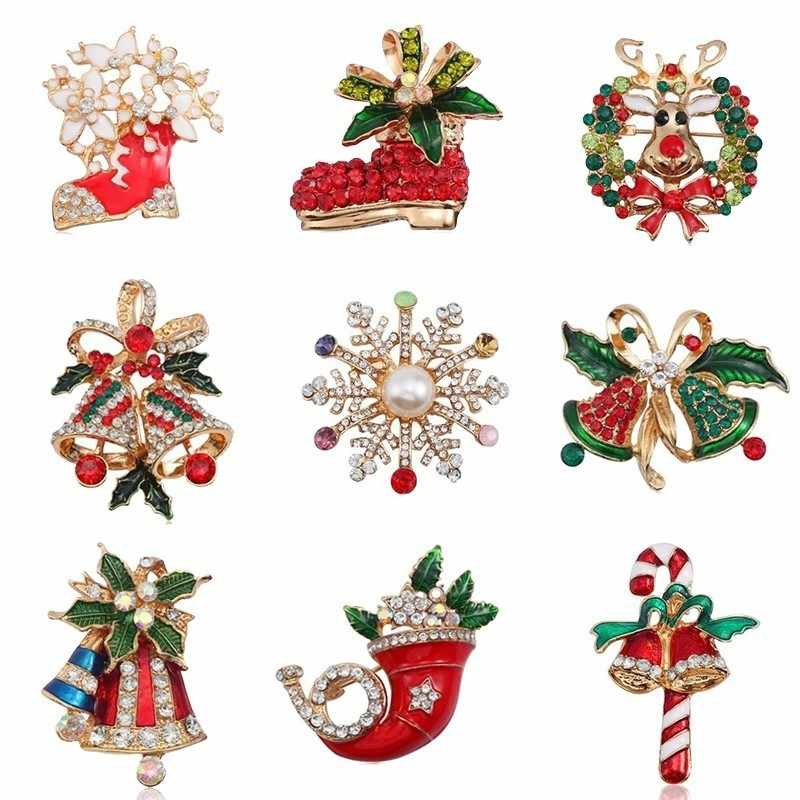 Colorful Crystal Christmas Brooch Pins Bell Snowflake Brooches For Women Gold Enamel Pins And Brooches Jewelry Xmas Gift