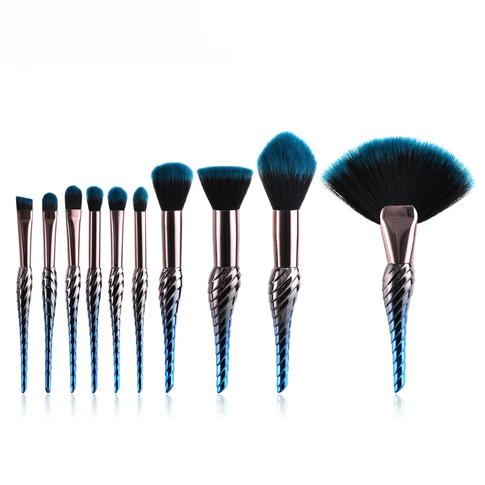 8/10PCS Mermaid Makeup Brushes Set Foundation Blending Powder Eyeshadow Contour Concealer Blush Cosmetic Beauty Make Up Tool Kit focallure 10pcs makeup brushes set foundation blending powder eyeshadow contour blush brush beauty cosmetic make up tool kit