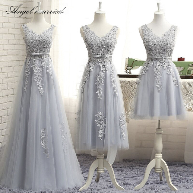 10fb32a3e09 Angel married simple bridesmaid dresses v neck appliques lace junior  wedding guest gown wedding party dress vestido de festa