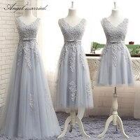 Angel married simple bridesmaid dresses v neck appliques lace junior wedding guest gown wedding party dress vestido de festa