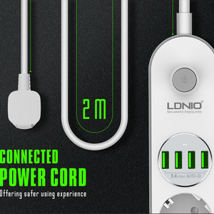 Image 4 - Power Strip Eu Plug Muur Meerdere Socket Draagbare 4 Outlet 4 Usb poort Voor Mobiele Telefoons Smartphones Tabletten Netwerk Filter