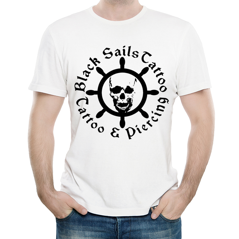 Black Sails T Shirt Mens Short Sleeve Fashion Cool Tshirt Unisex Black Sails Logo T-shirt Top Tees White tshirt