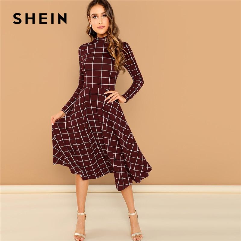 SHEIN Burgundy Elegant Office Lady Plaid Print High Neck Fit And Flare Long Sleeve Dress Autumn Workwear Fashion Women Dresses