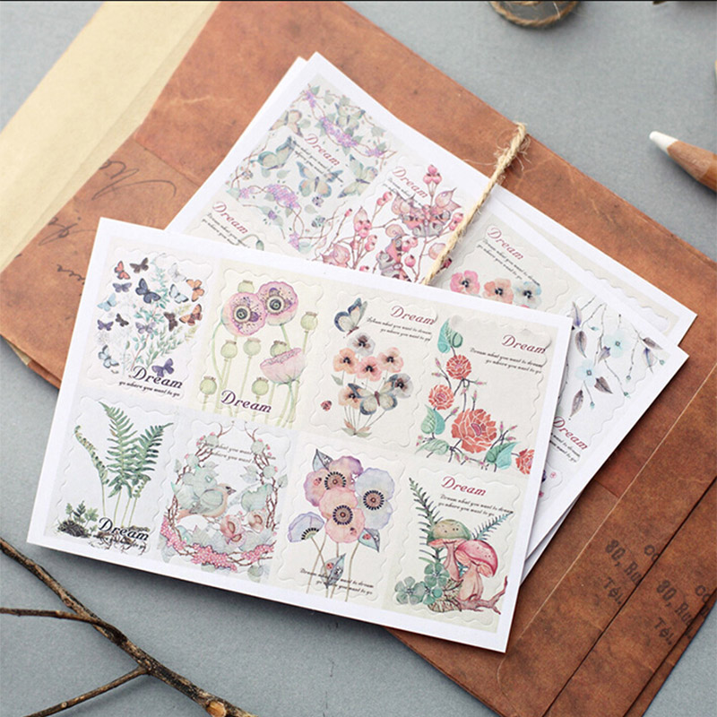 3 Sheets/lot Vintage Flower Stamp Paper Sticker DIY Diary Decorative Seal Sticker Album Scrapbooking Stationery