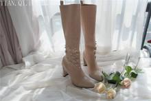 Nowy styl klasyczna Moda Design Woman sexy kolana wysokie buty wysokie obcasy kobiety buty buty wysokiej jakości pompy buty zimowe buty tanie tanio Dorosłych Elastyczna tkanina Zima Pasuje do rozmiaru Weź swój normalny rozmiar Tian Qi Huang Slip-on od 0 do 3 cm