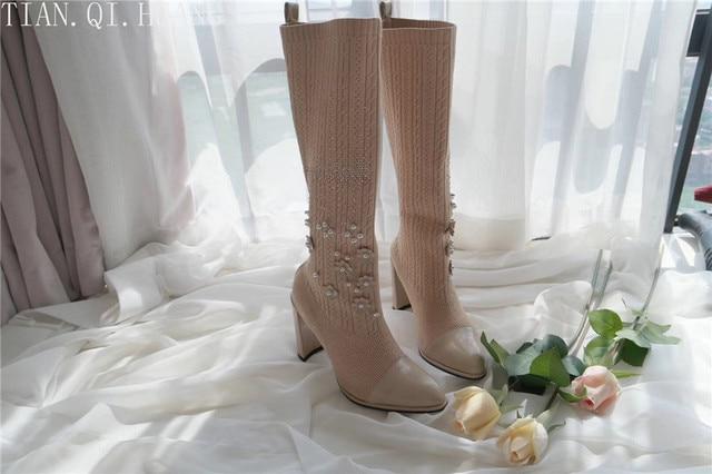 Yeni Stil Klasik Moda Tasarım Kadın Seksi Diz-Yüksek Çizmeler Yüksek Topuklu Kadın Çizmeler Ayakkabı Yüksek Kalite Ayakkabı Pompalar kış Çizmeler
