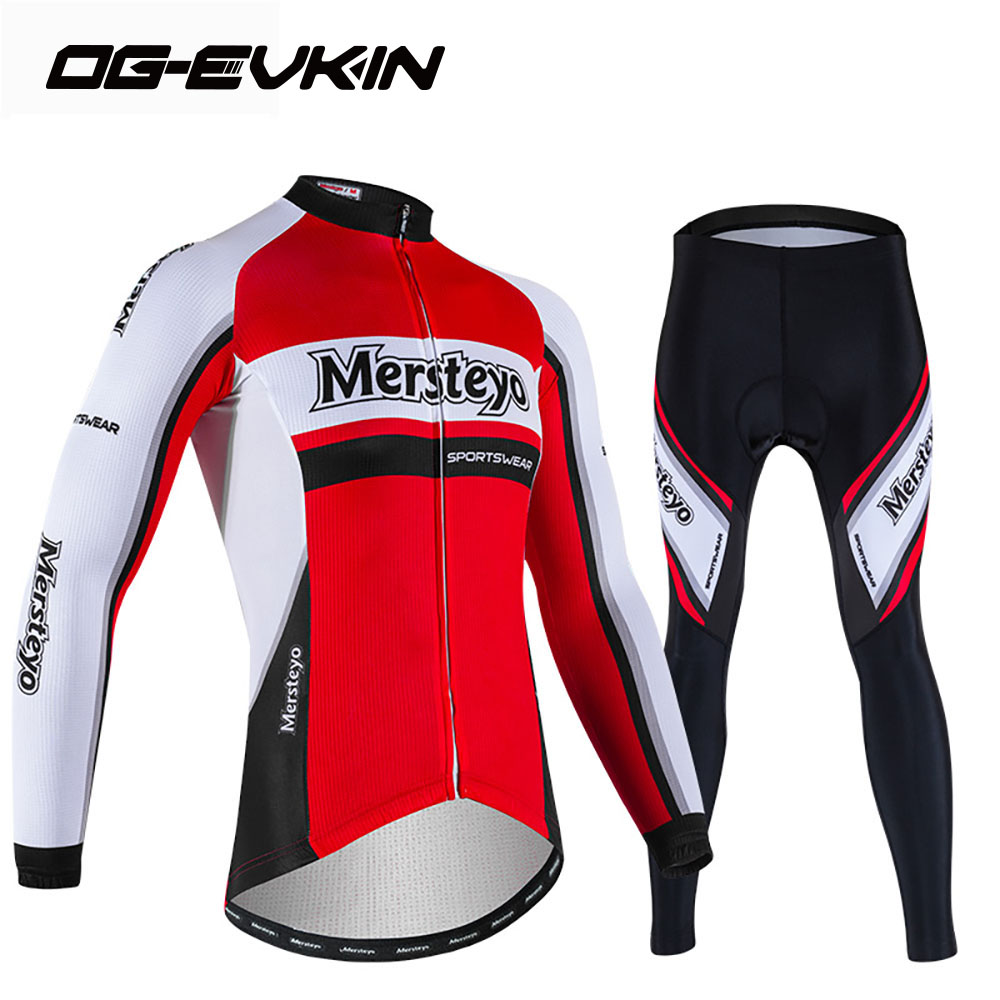 NEW Brand Cycling jersey Men Long sleeve MTB Winter Cycling clothing with pants quick drying 2018 Red arsuxeo ar608s quick drying cycling polyester jersey for men fluorescent green black l