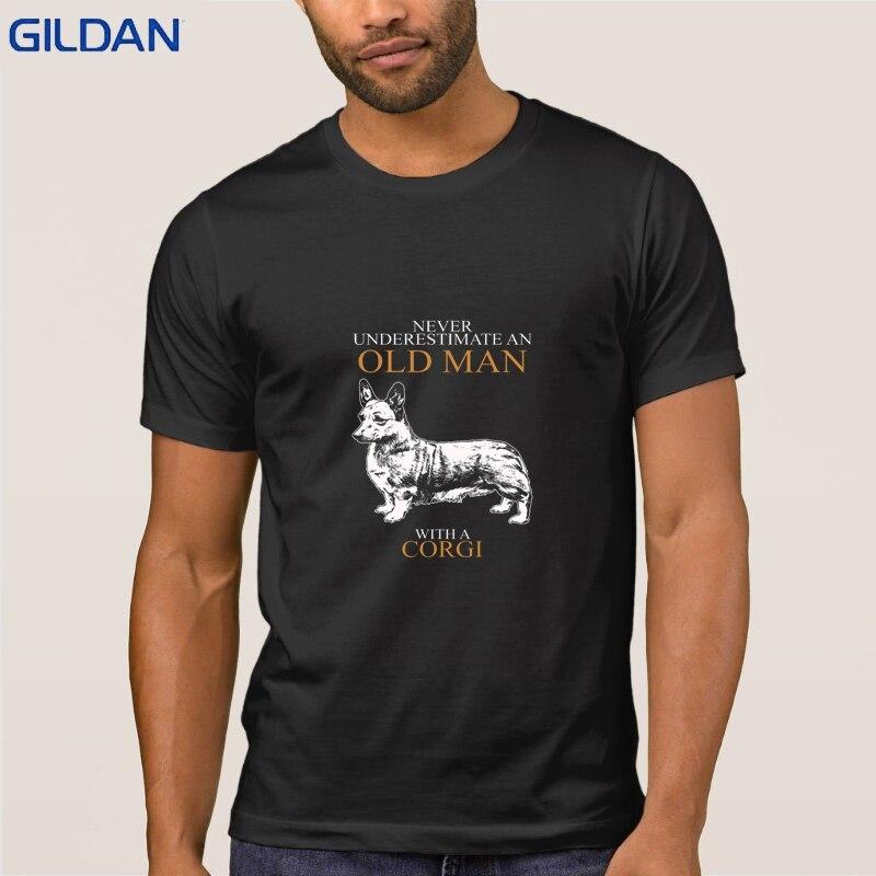 Mai Sottovalutare Un Vecchio Uomo Corgi T Shirt Uomo Lavorato A Maglia T-Shirt Modello di Abbigliamento Nizza Famiglia Mens Tshirt Manica Corta