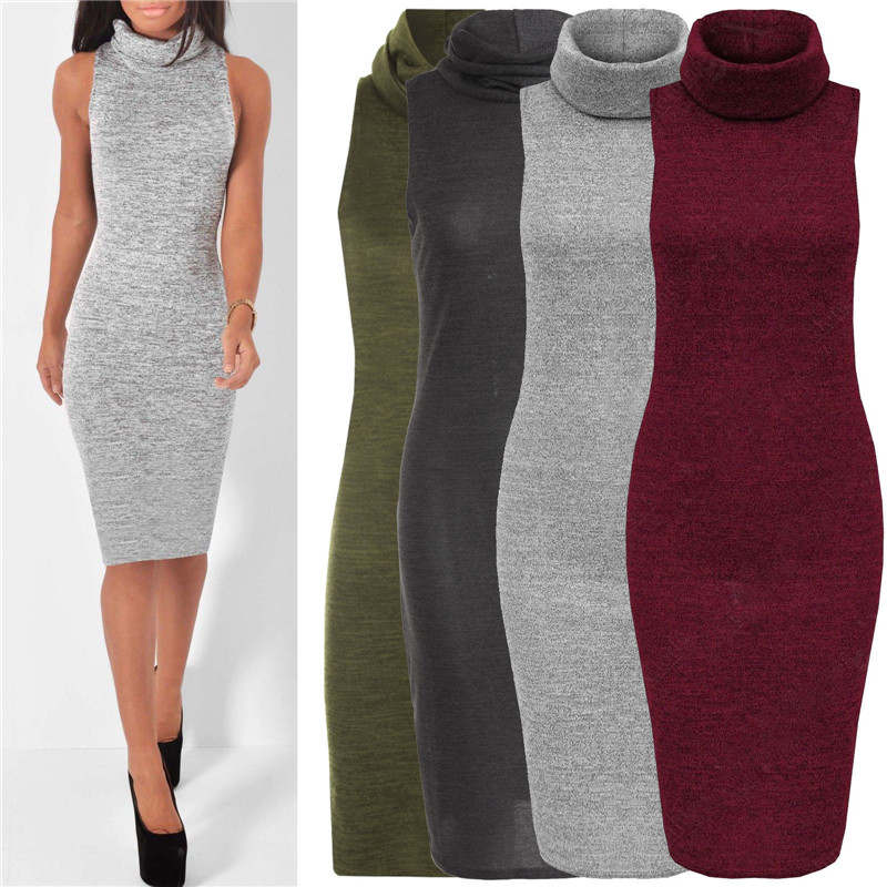 Autumn Style Women Sexy Sleeveless Cotton Dress Knitted Sweater Pullover Dress Solid Color High Neck Casual Slim Dress